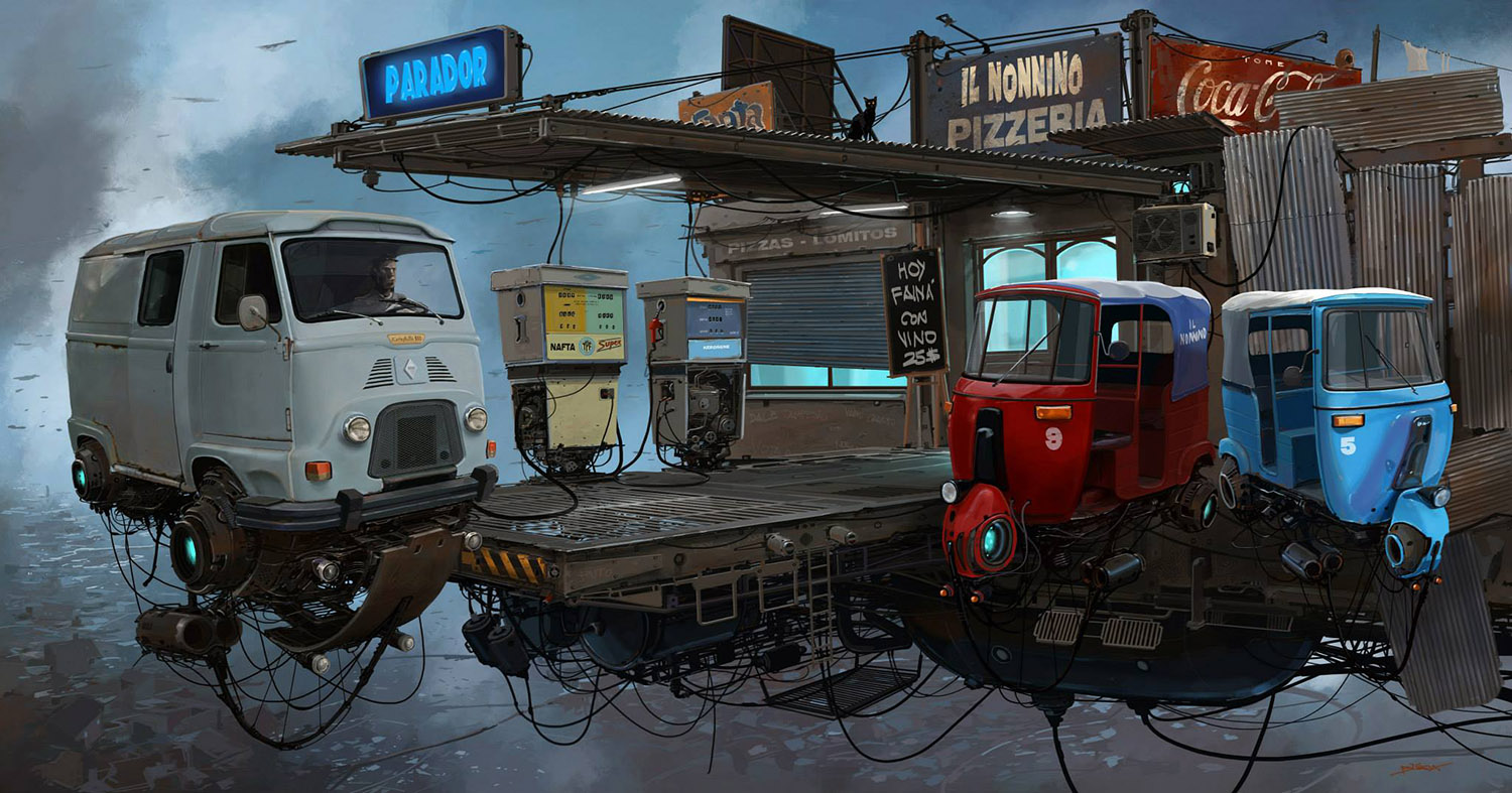 futuristic gas station by alejandro burdisio