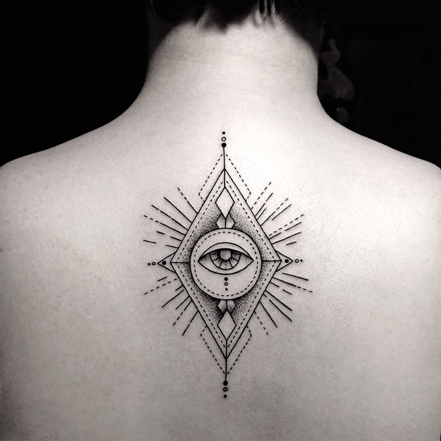 eye of providence tattoo on back by bicem sinik