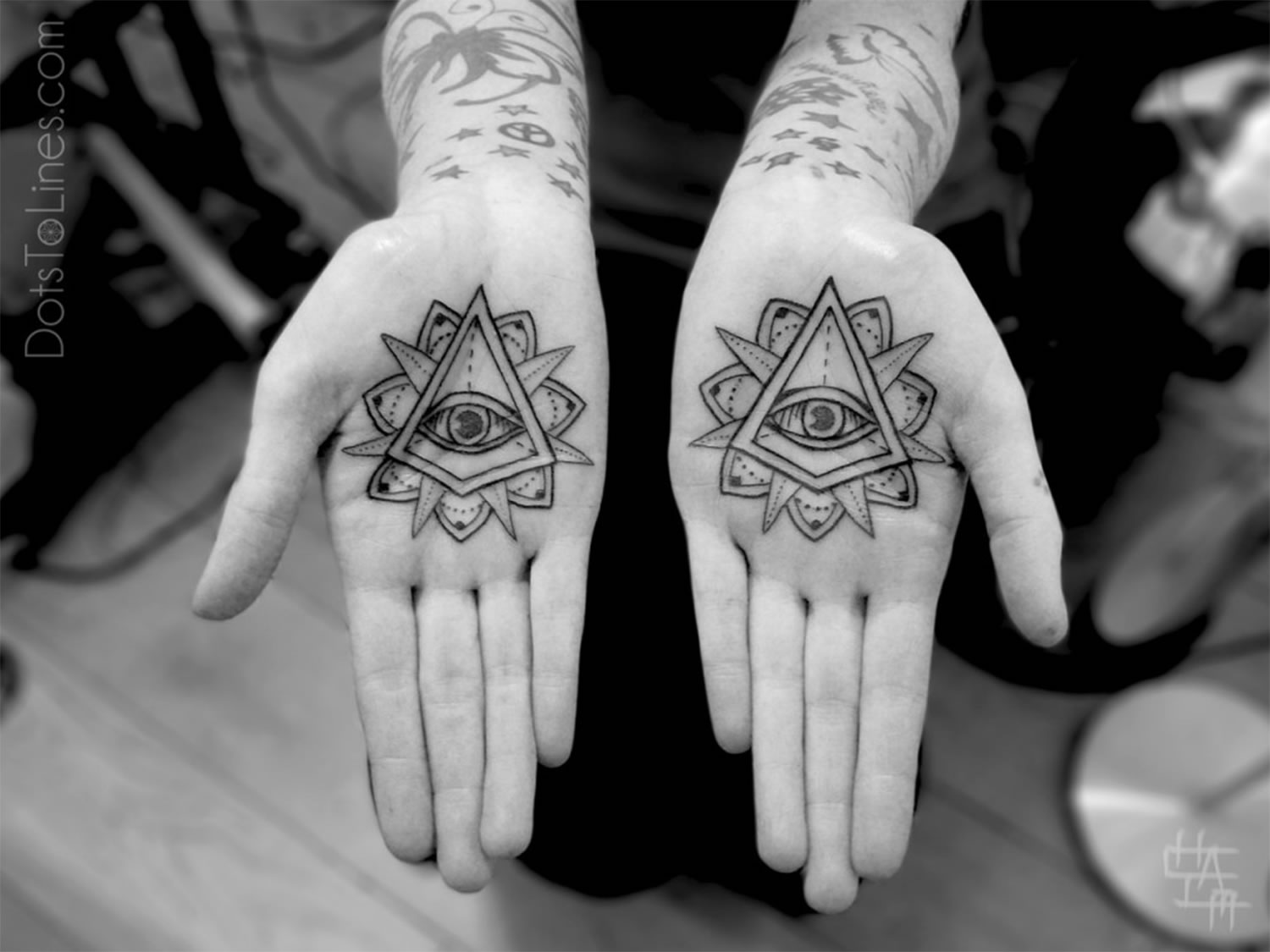 eye of providence on hand palms, by chaim machlev, dotstolines