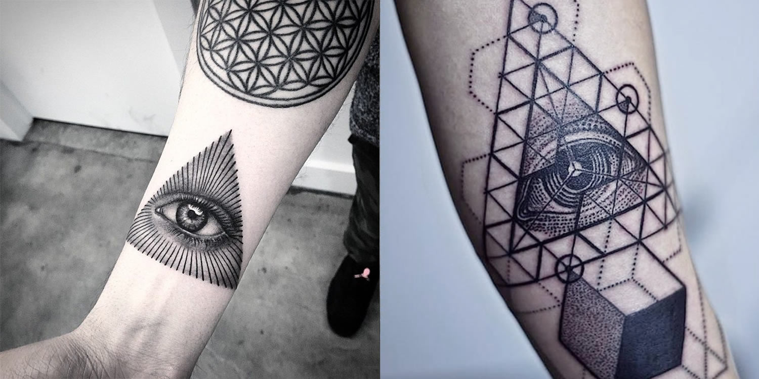 eye of providence tattoo by Bang bang nyc and geometric eye of god by thomas sinnamond