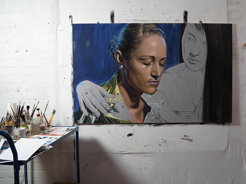 dirk dzimirsky oil paint portrait in studio