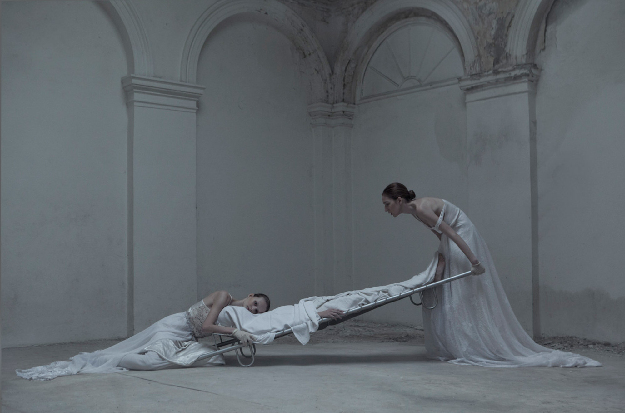 Evelyn Bencicova, Black and White Magic, strange hospital scene with body on stretcher