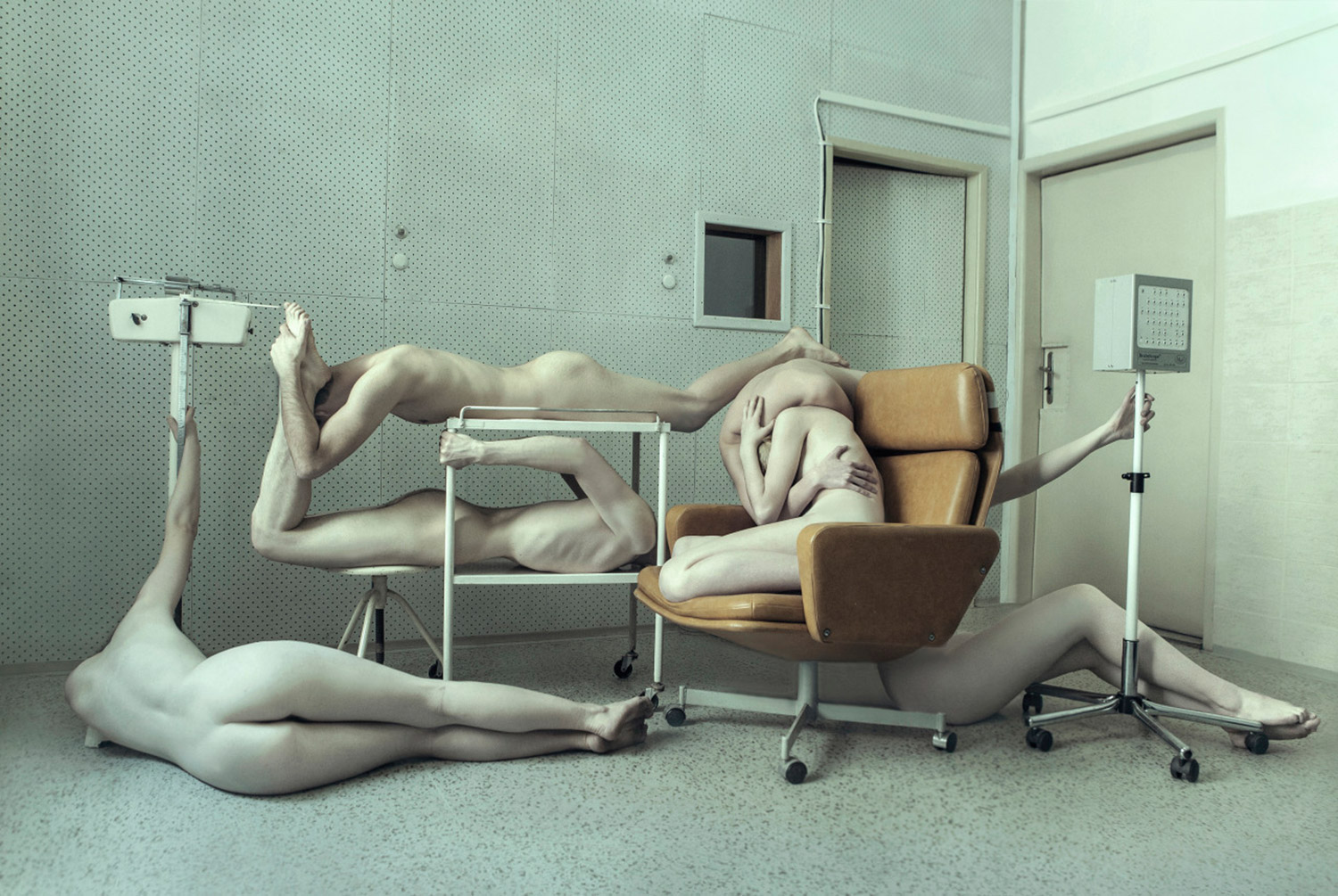 Evelyn Bencicova, Ecce Homo, photo of nude bodies draped over hospital equipment
