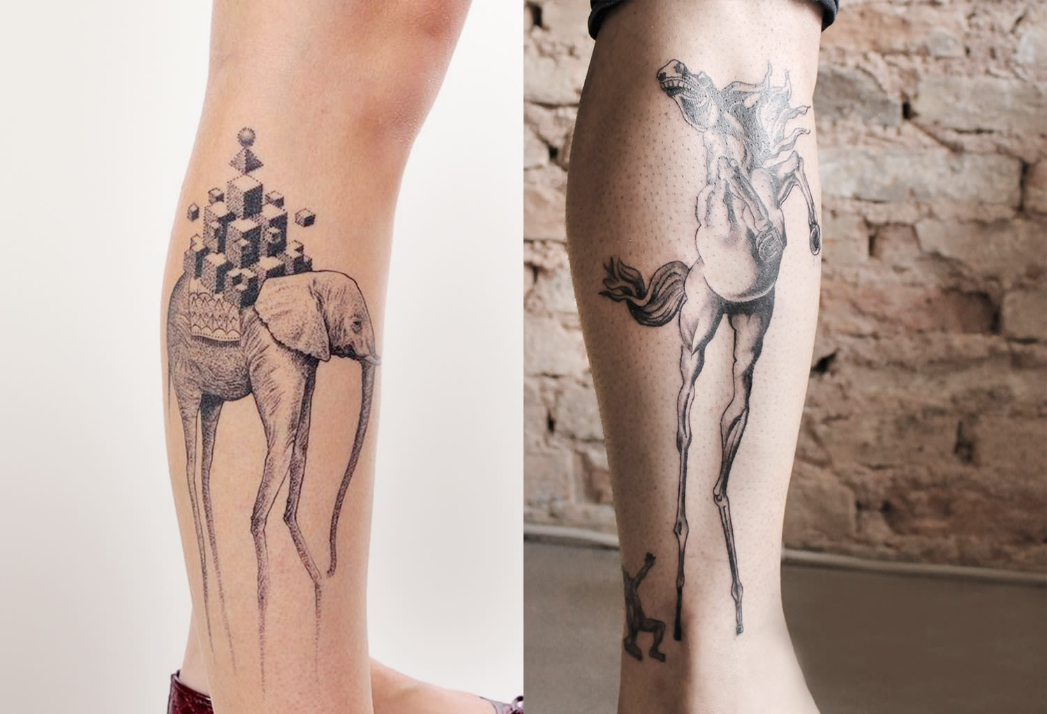 spider-leg elephant by Gregorio Marangoni and st antony temptation tattoo by grim tattoo