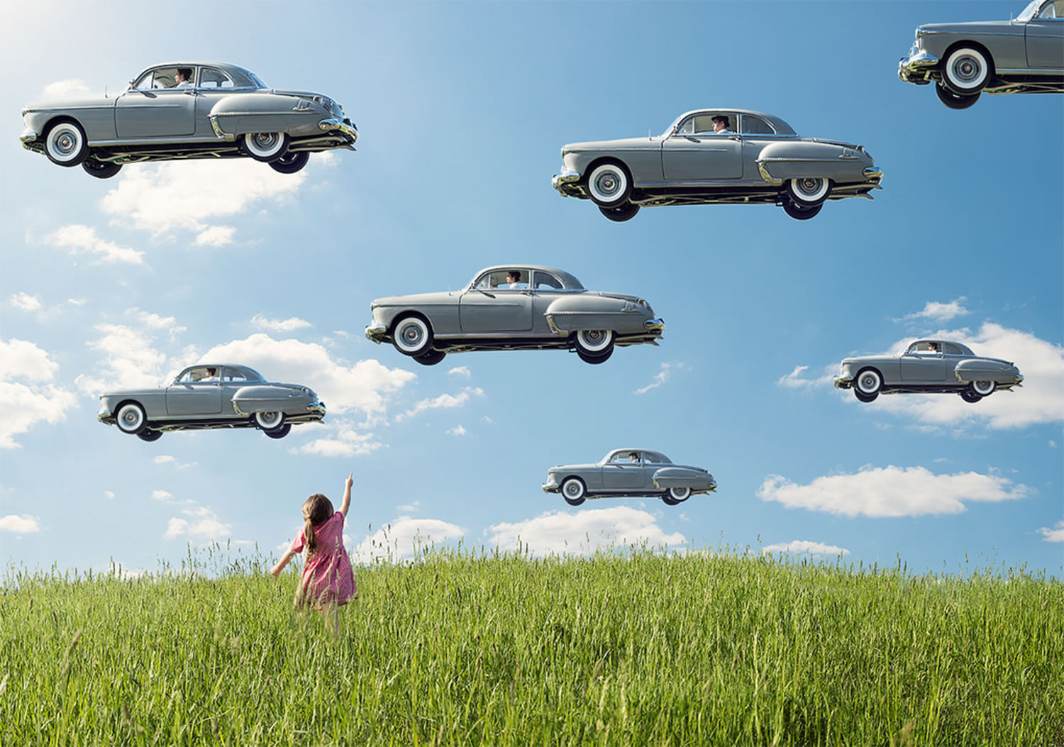 cars in the sky, rene magritte inspired