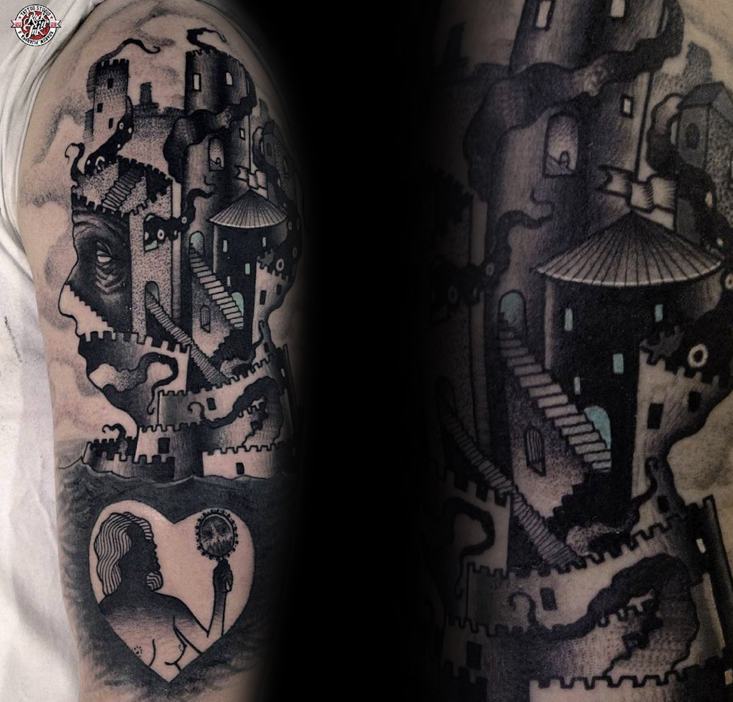 Tattoo that shows a complex staircase inside of a portrait, mc escher style