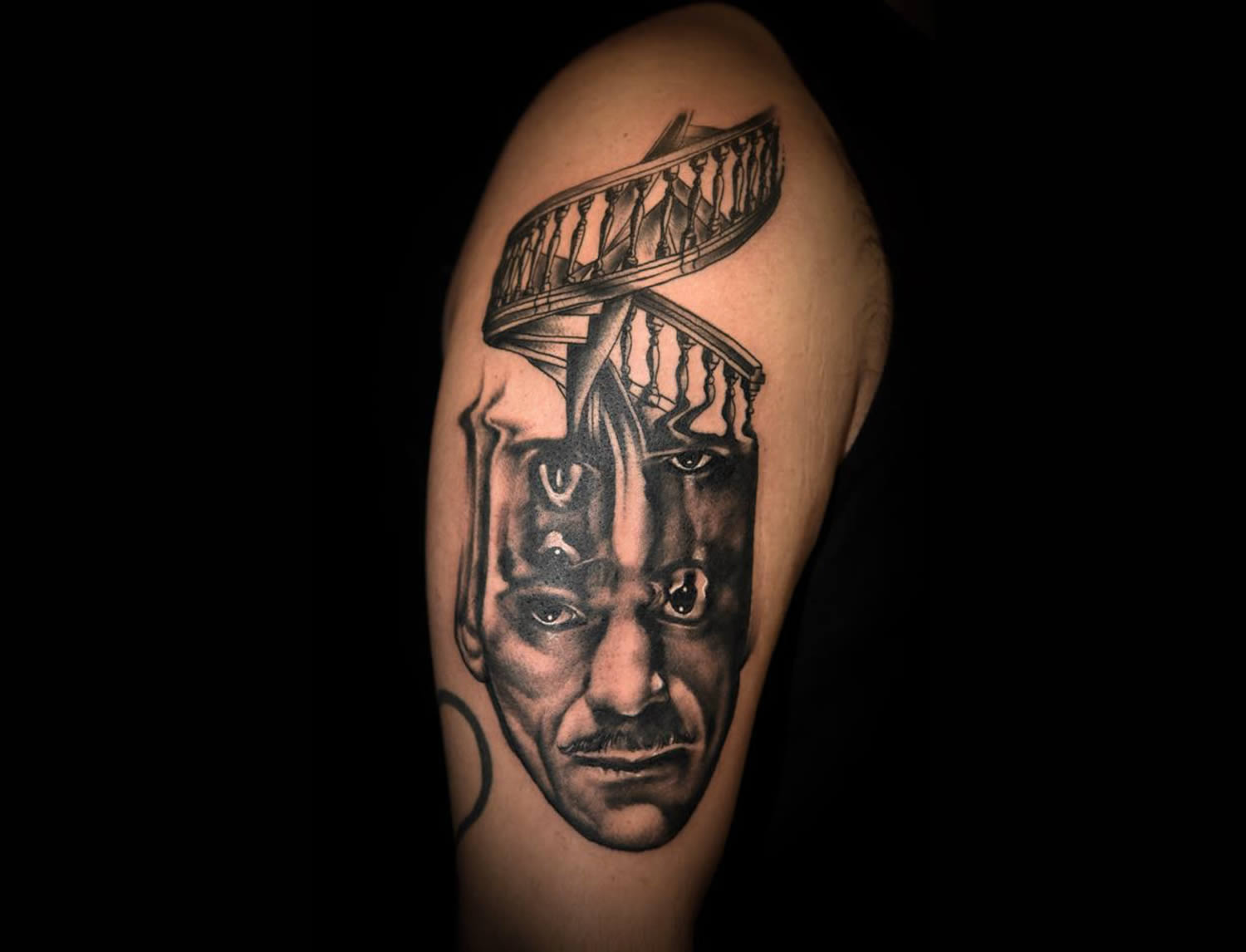 staircase head man, melting man tattoo