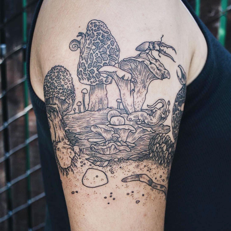 fungi, mushroom tattoo