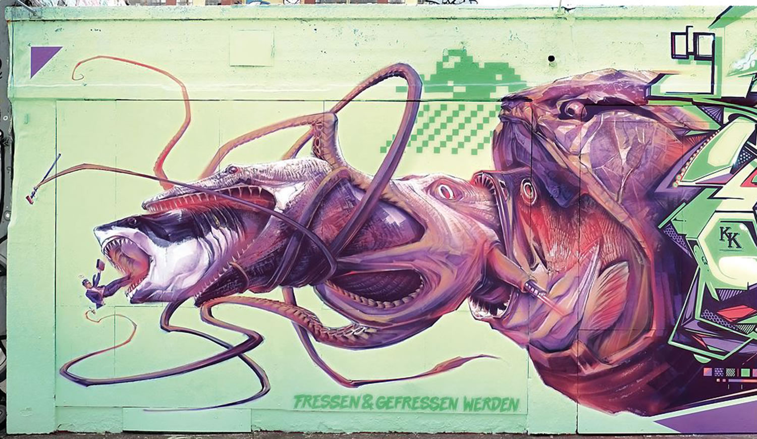 octopus eats shark. food chain, graffiti