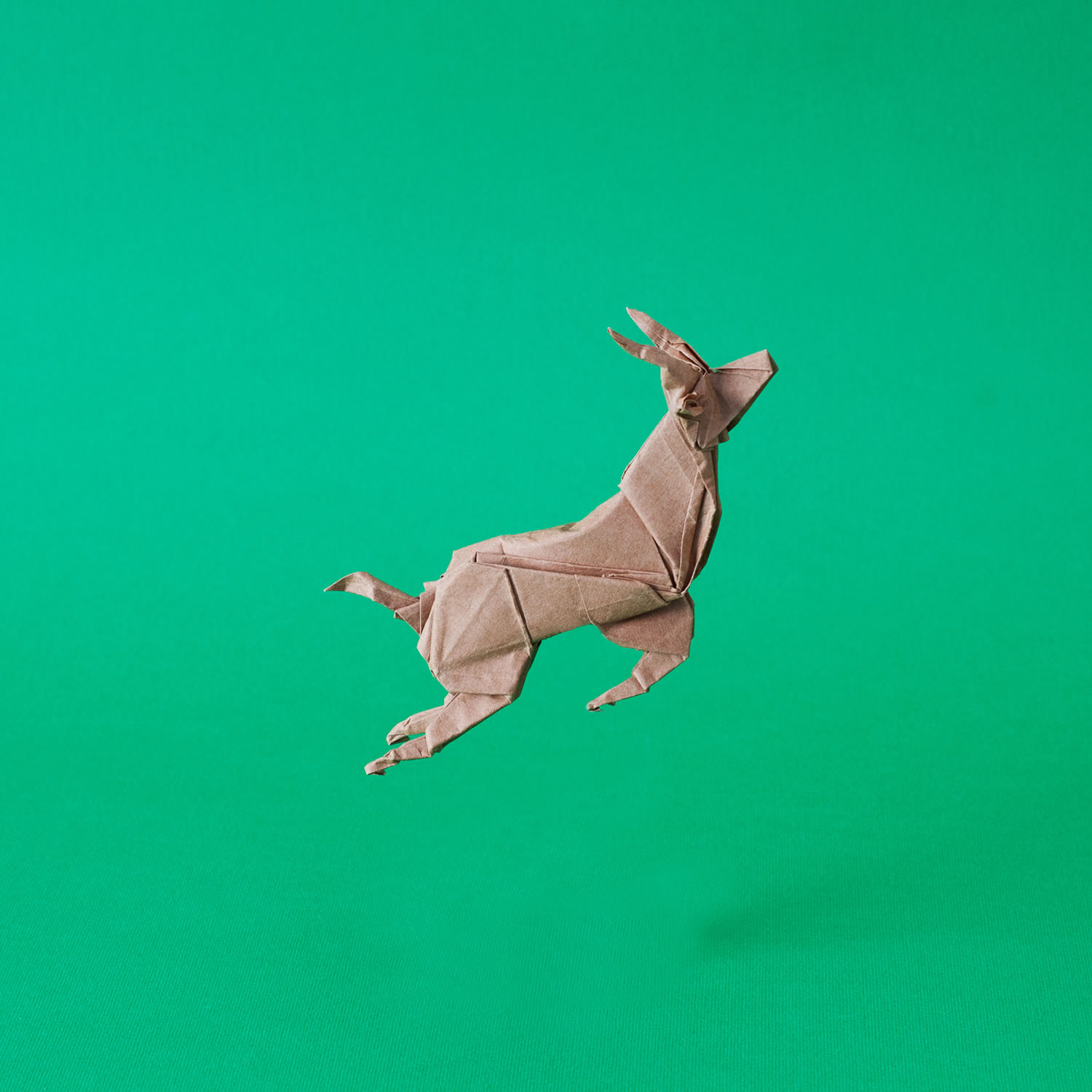 springbok jumping in the air, origami