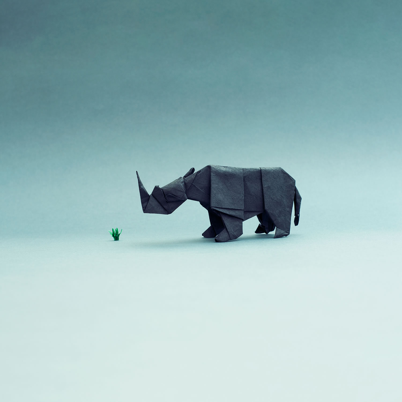 rhino, origami, paper art