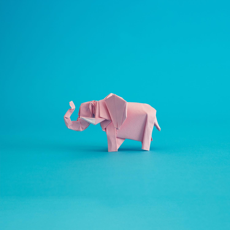 pink elephant, paper art, origami, folding