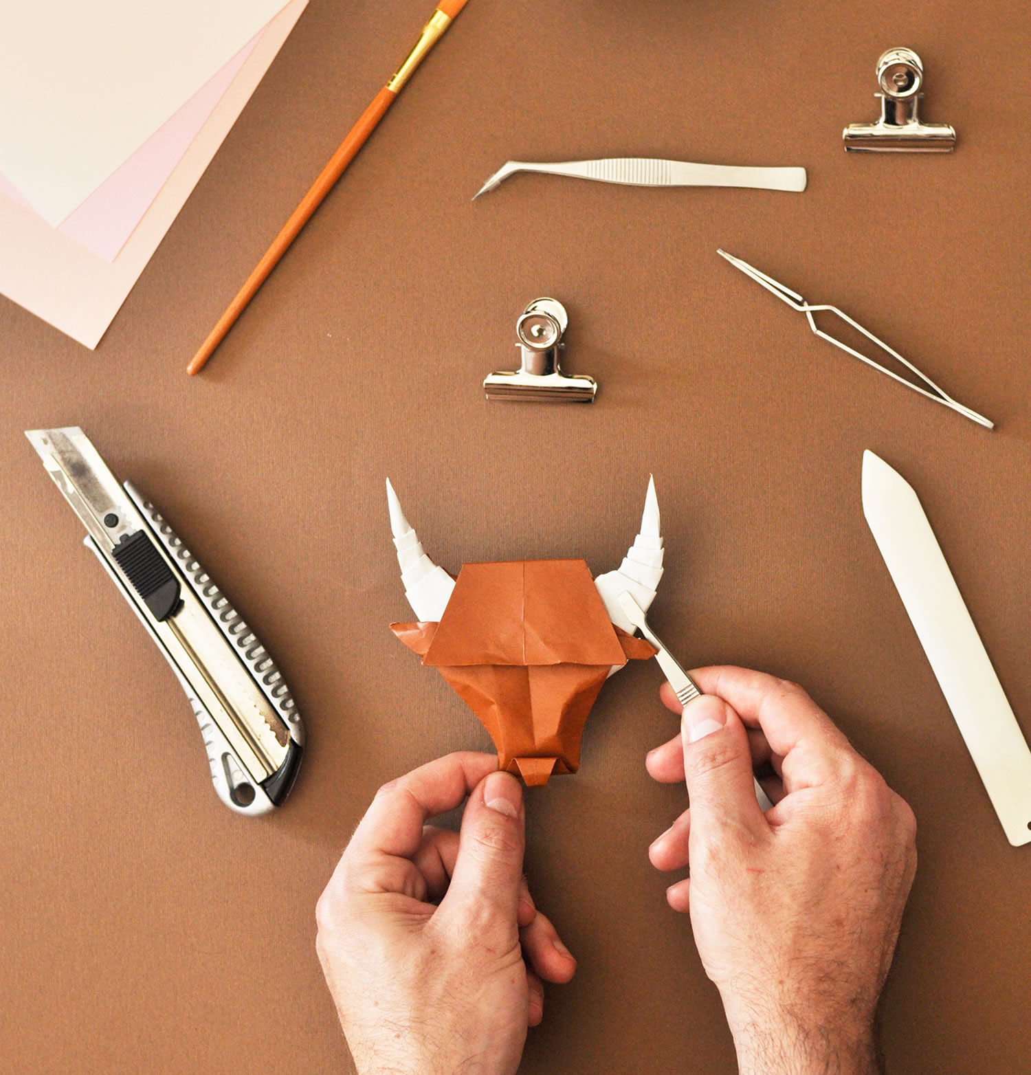 bull, behind-the-scenes, making of, paper art