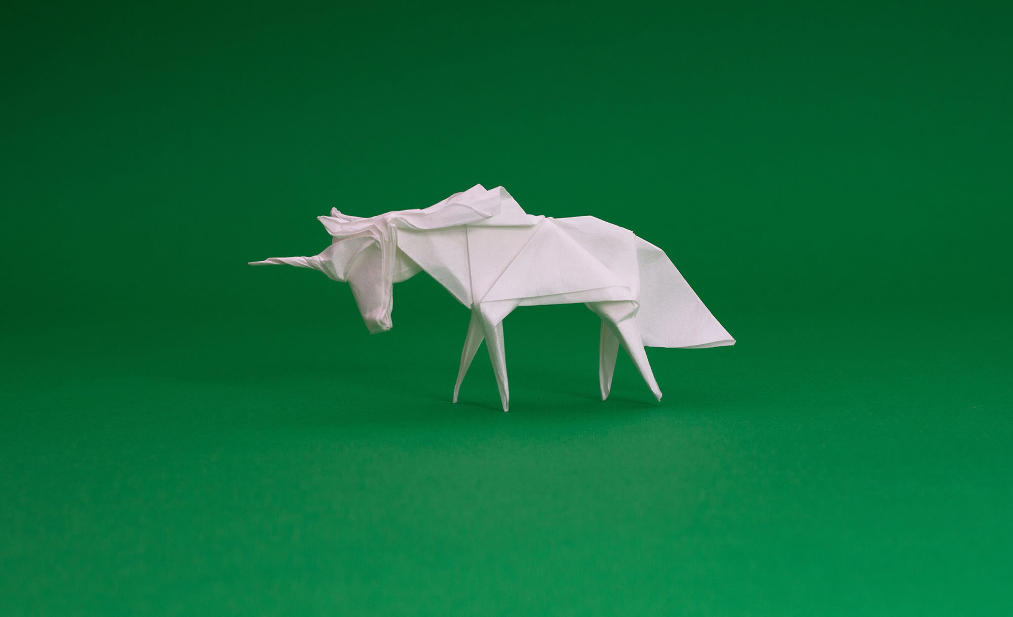 origami unicorn, white horse