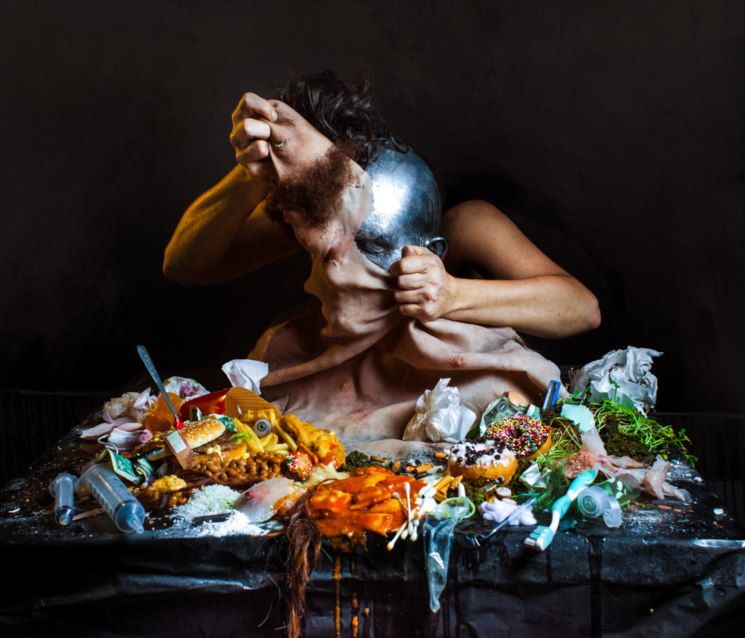 Sarah Sitkin, Djmrex, fleshy sculpture with grotesque food