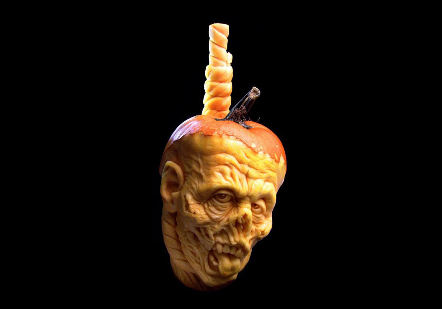 grotesque man zombie pumpkin, halloween