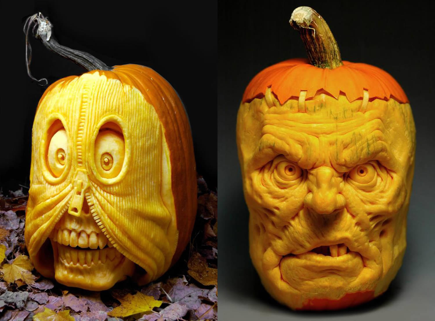 zipper face guy and frakenstein pumpkins