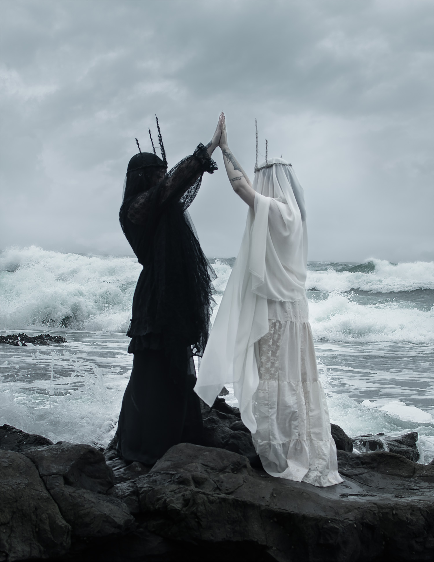 American Ghoul, Siren, two spectral figures holding hands on the shore