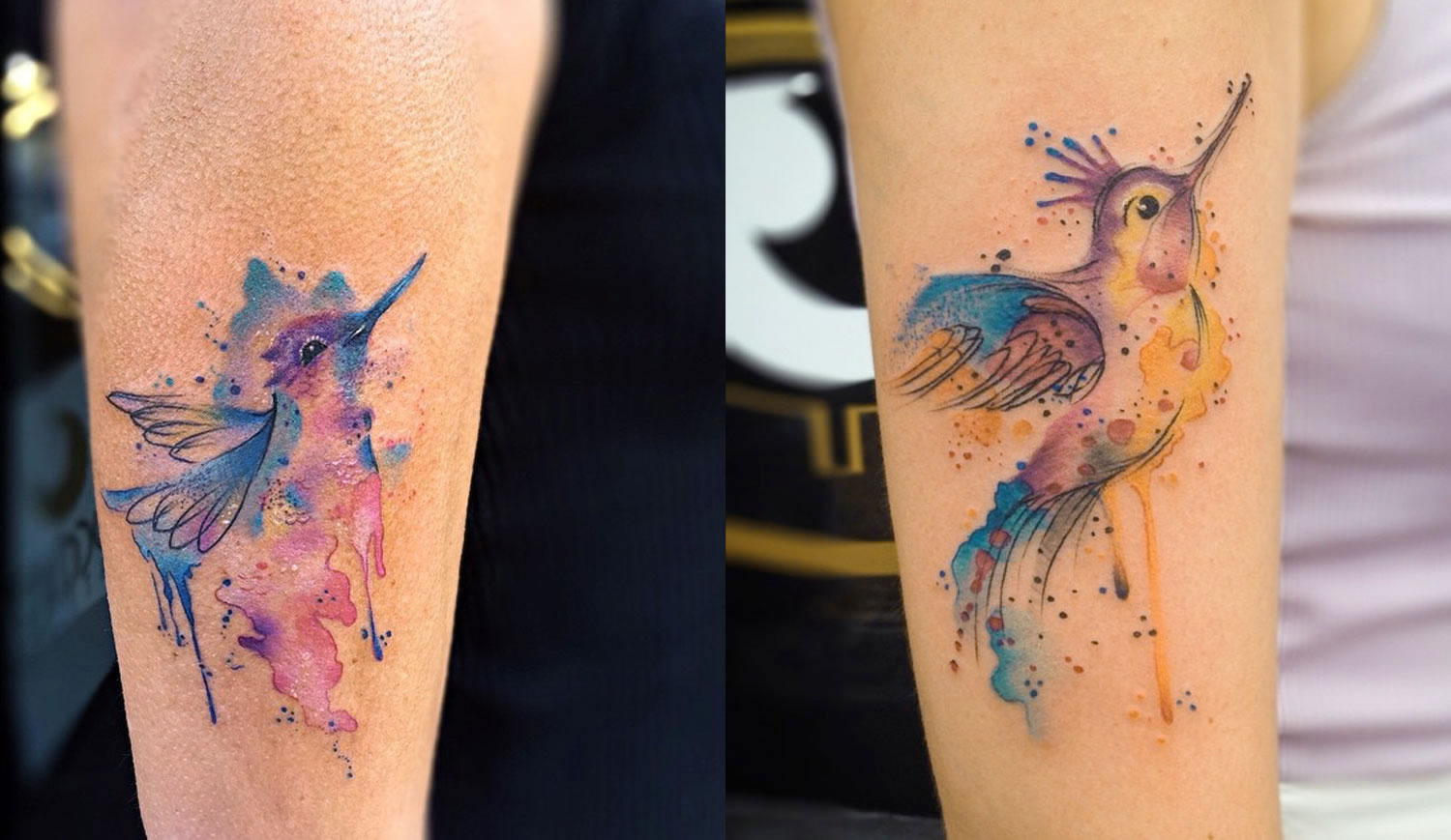 Colorful bursts ink tattoos