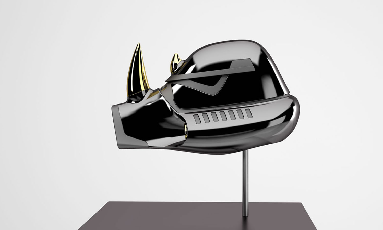 rhino helmet in black, star wars
