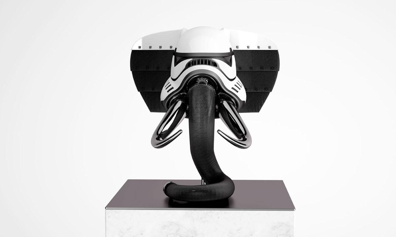 stormtrooper fused animal helmet, in white, front view