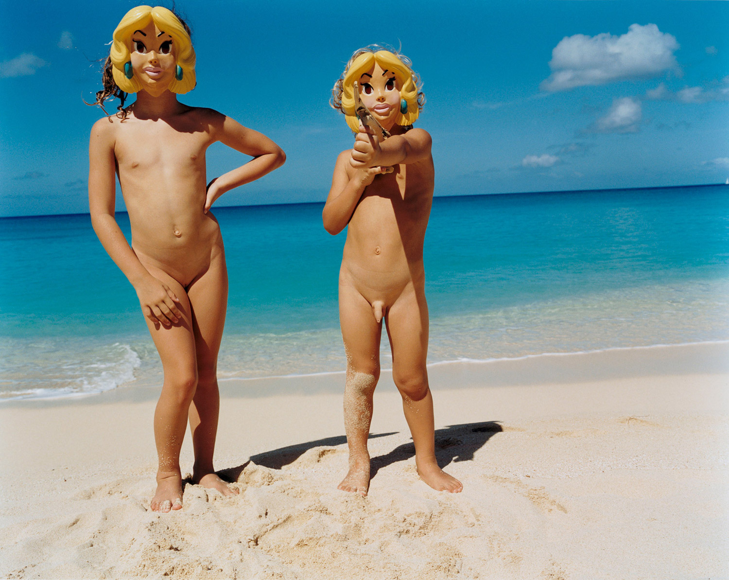 Tierney Gearon - nude children on beach wearing masks