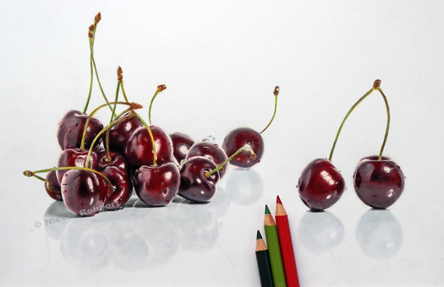 cherries,hyperrealistic drawing