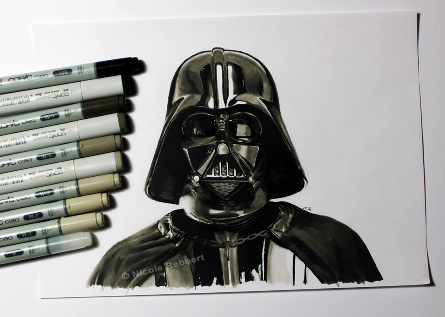 darth vader, hyperrealistic drawing