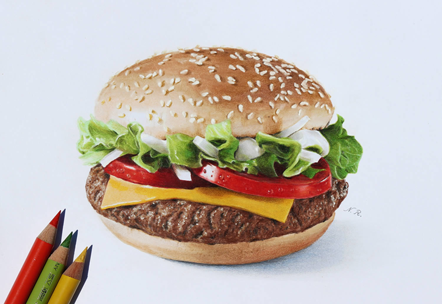 hamburger, hyperrealistic drawing