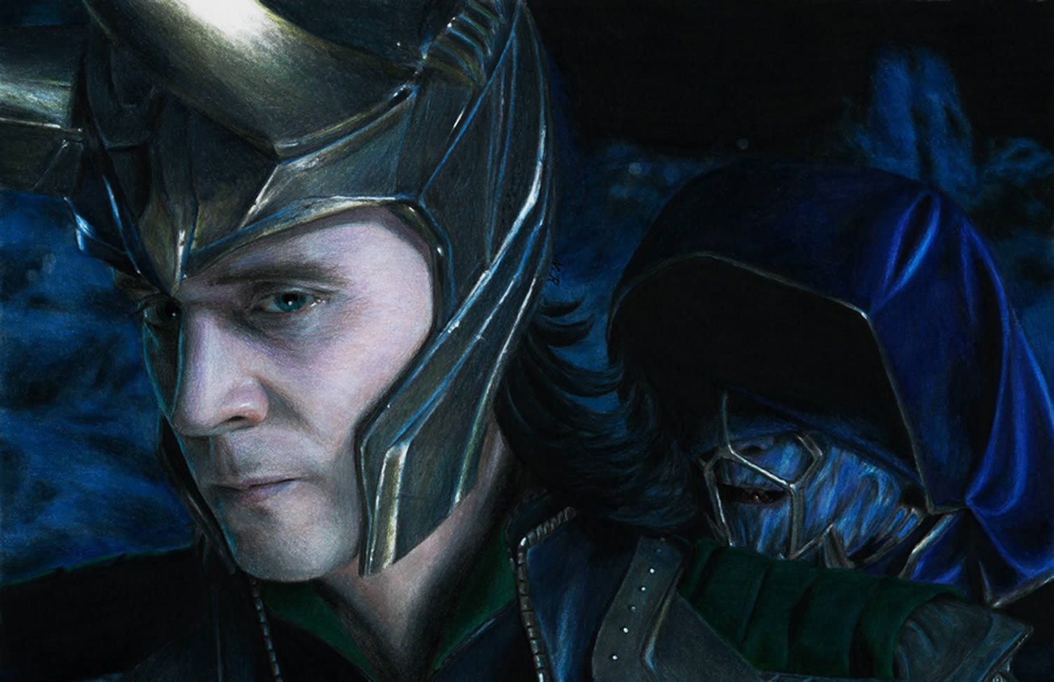 loki, hyperrealistic drawing