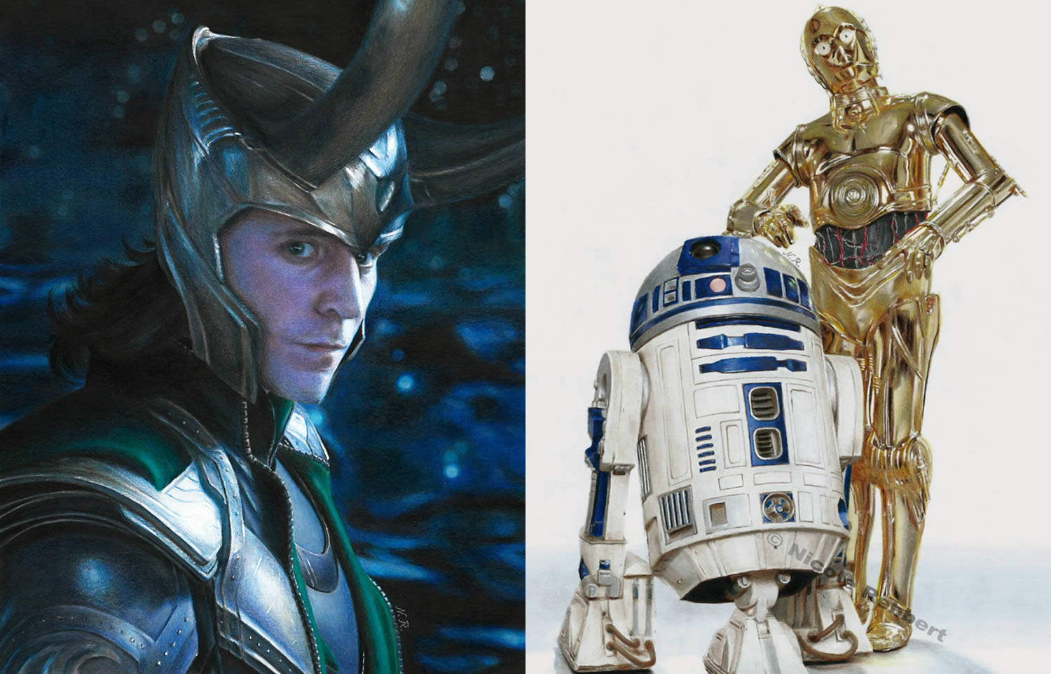 loki (tom hiddleston) and r2d2 and 3-cpo, star wars hyperrealistic drawing