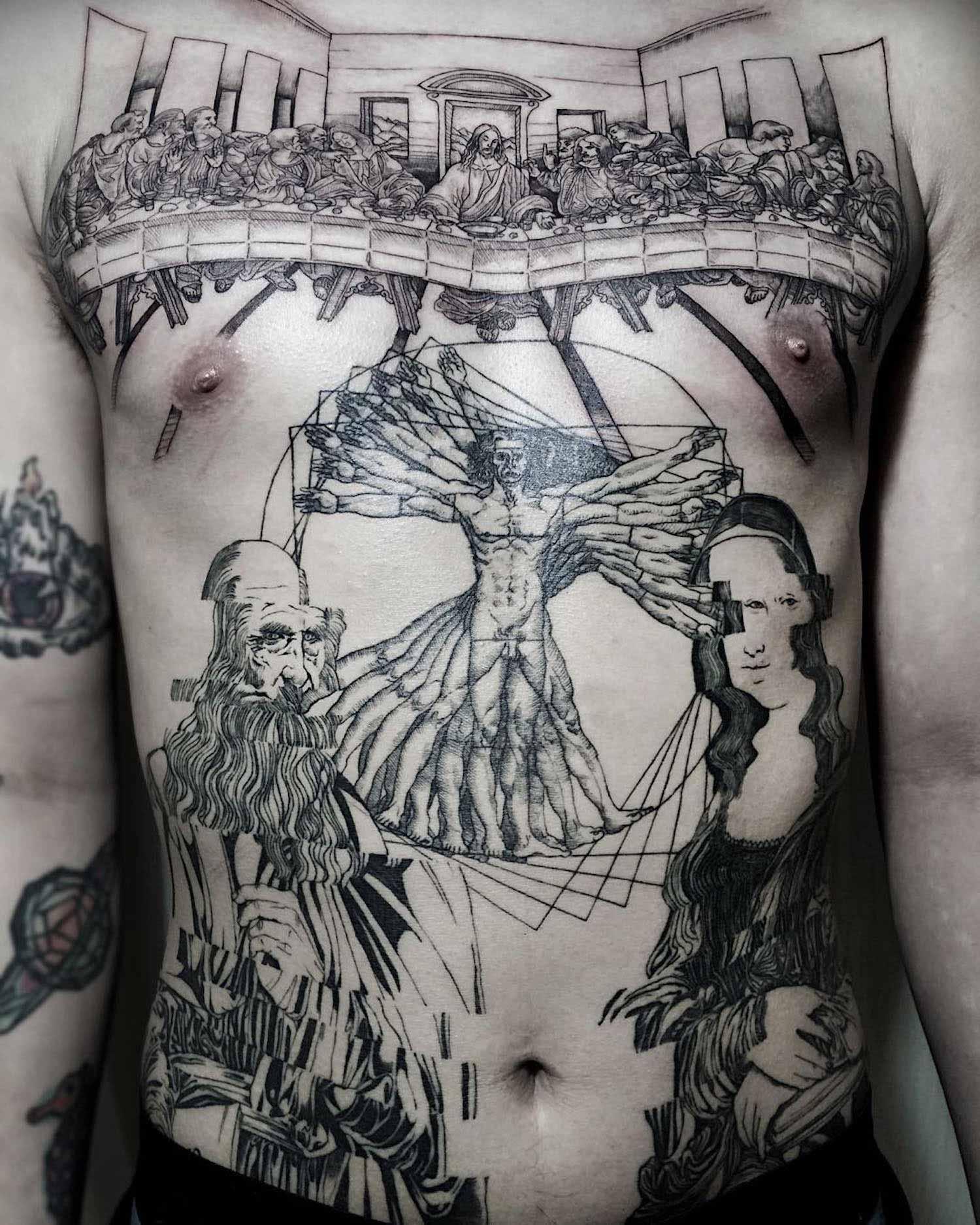 Da Vinci paintings as tattoos by Oozy
