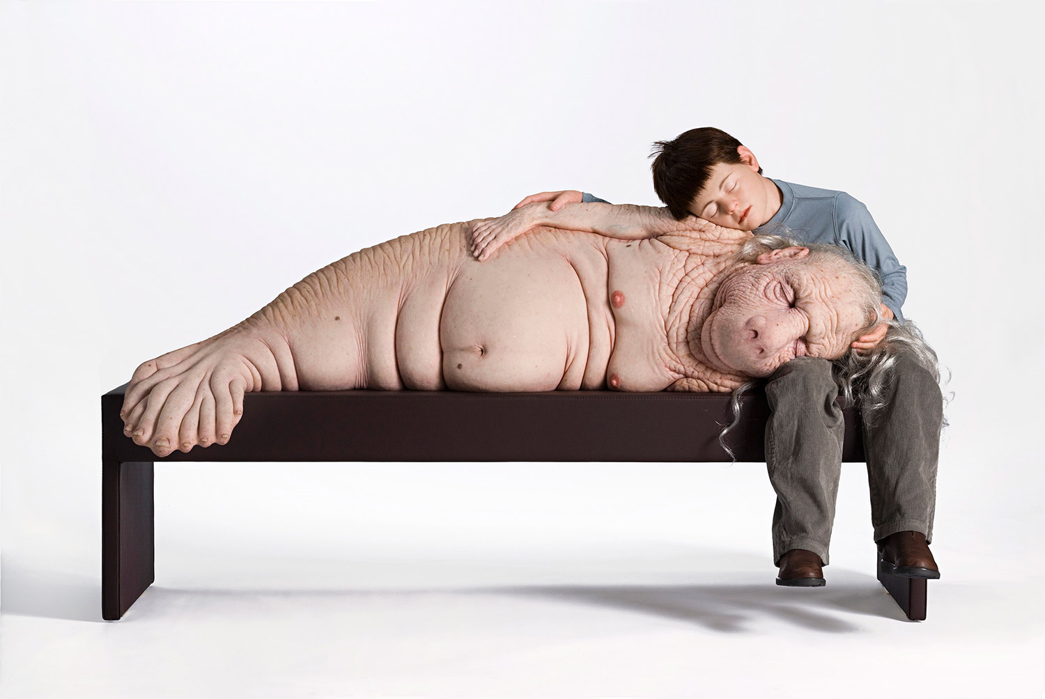 Patricia Piccinini, The Long Awaited - hybrid animal and young boy cuddling