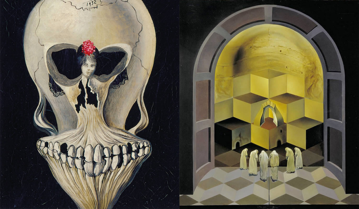 ballerina skull and Skull of Zurbaran, paintings by dali