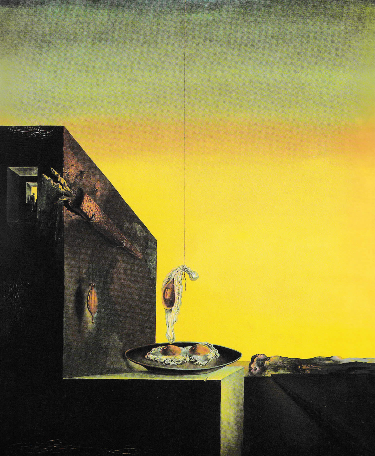 Eggs on the Plate without the Plate, painting by dali
