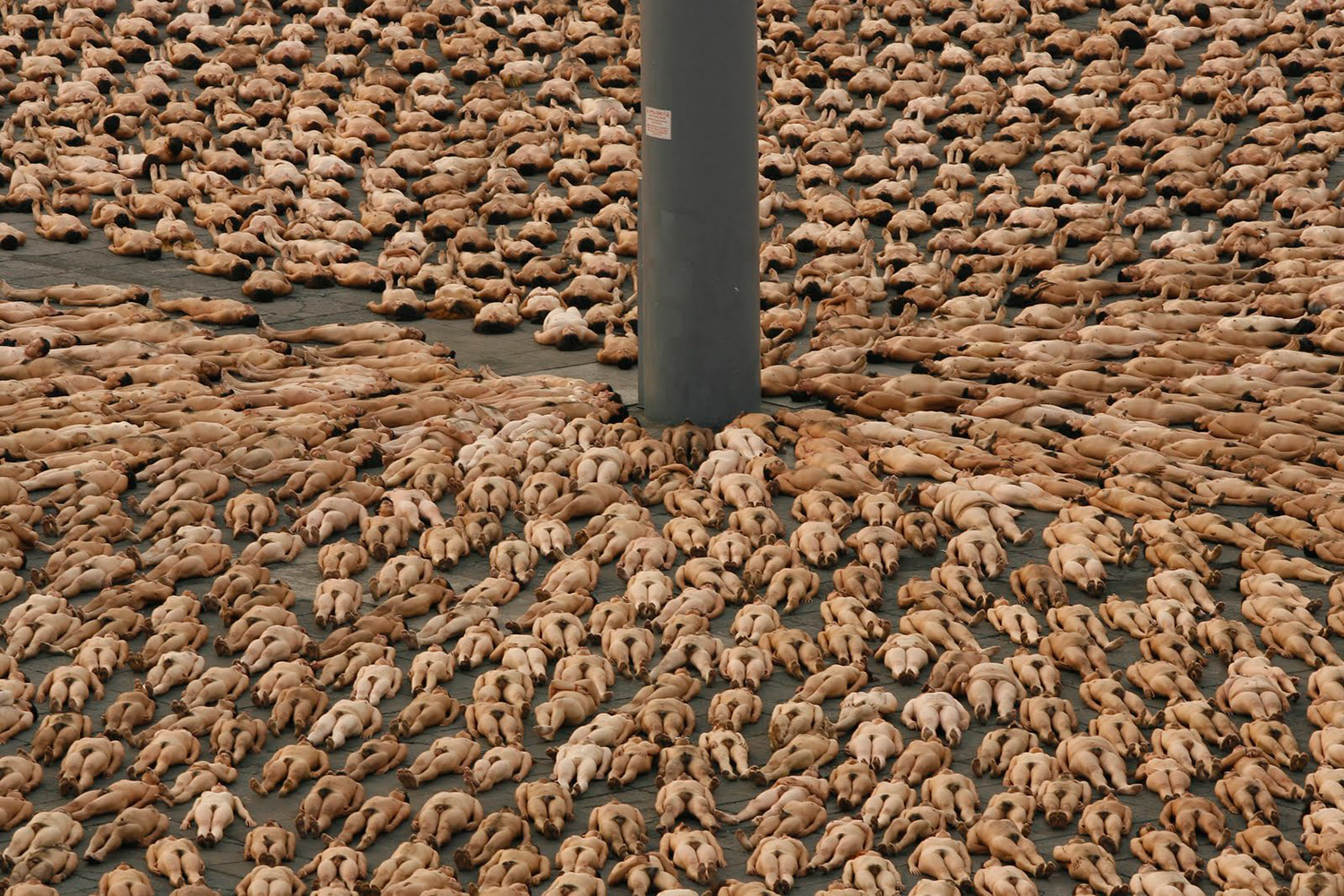 Spencer Tunick - photograph of nude bodies lying down en masse