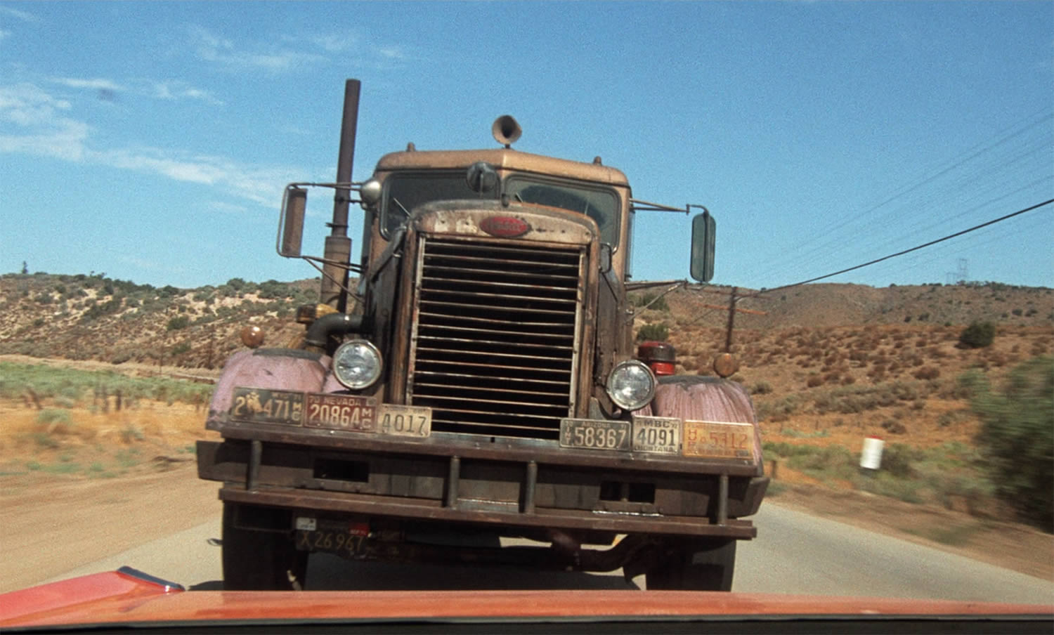 big truck, duel with car, Duel by spielberg