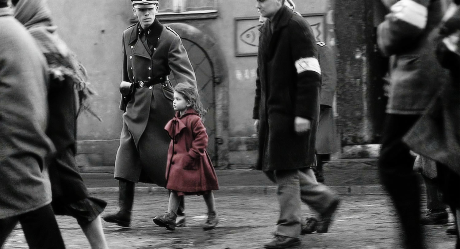 girl in red jacket, schindler's list