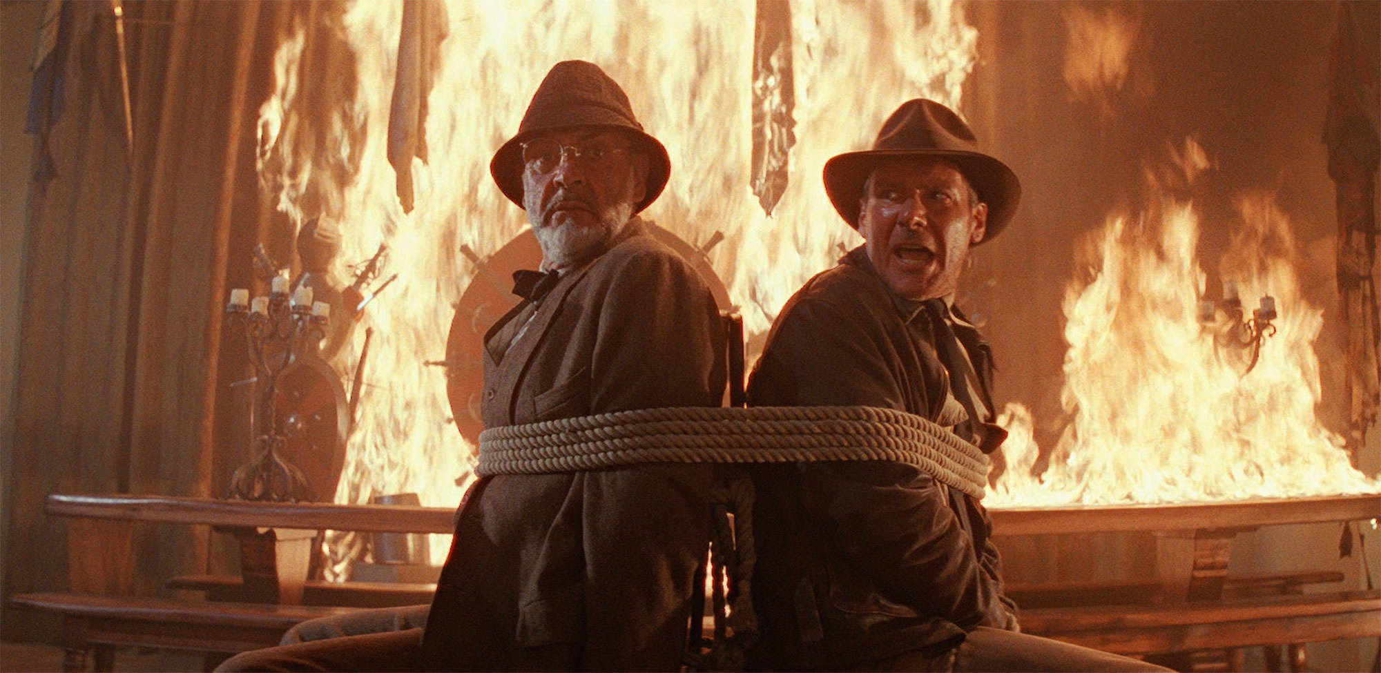 professor henry jones and indiana jones tied up, fire, Indiana Jones and The Last Crusade