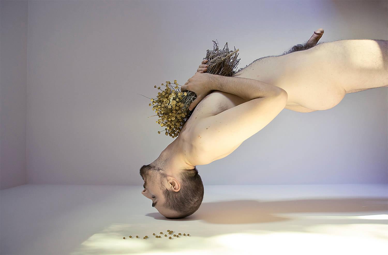el retorno, man holding dried flowers, leila amat ortega