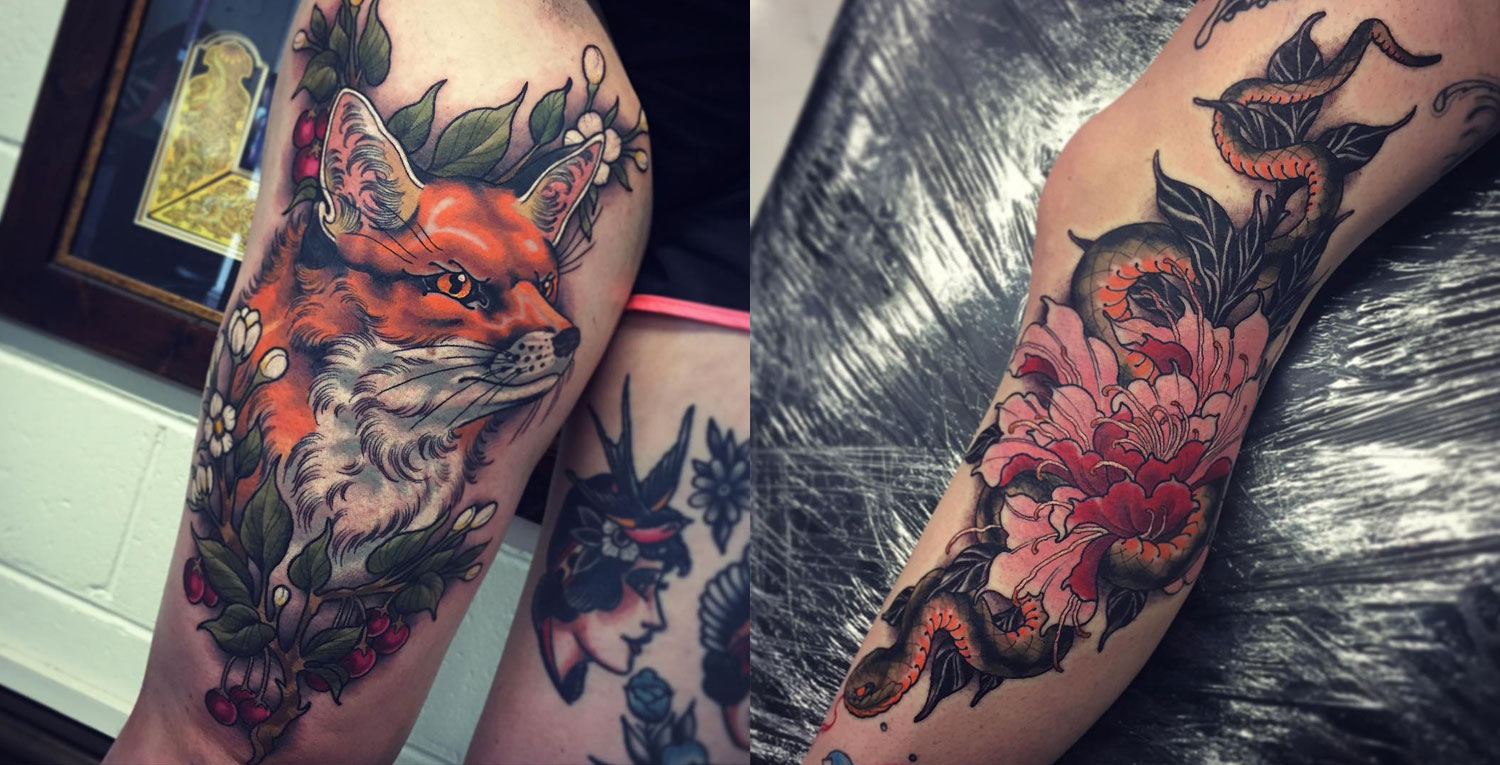 Fox and snake portraits by Tom Bartley