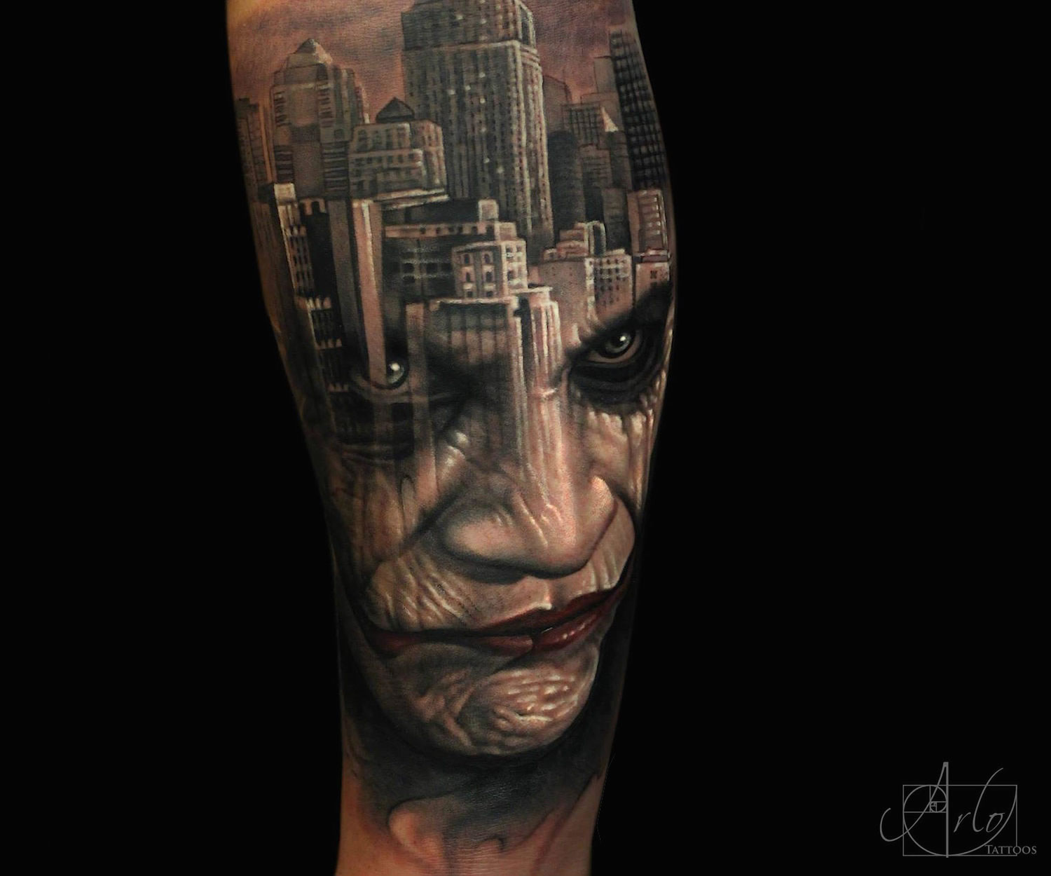 Arlo double exposure joker tattoo