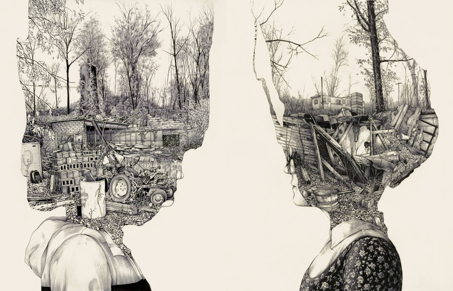 illustration, double exposure by pat perry