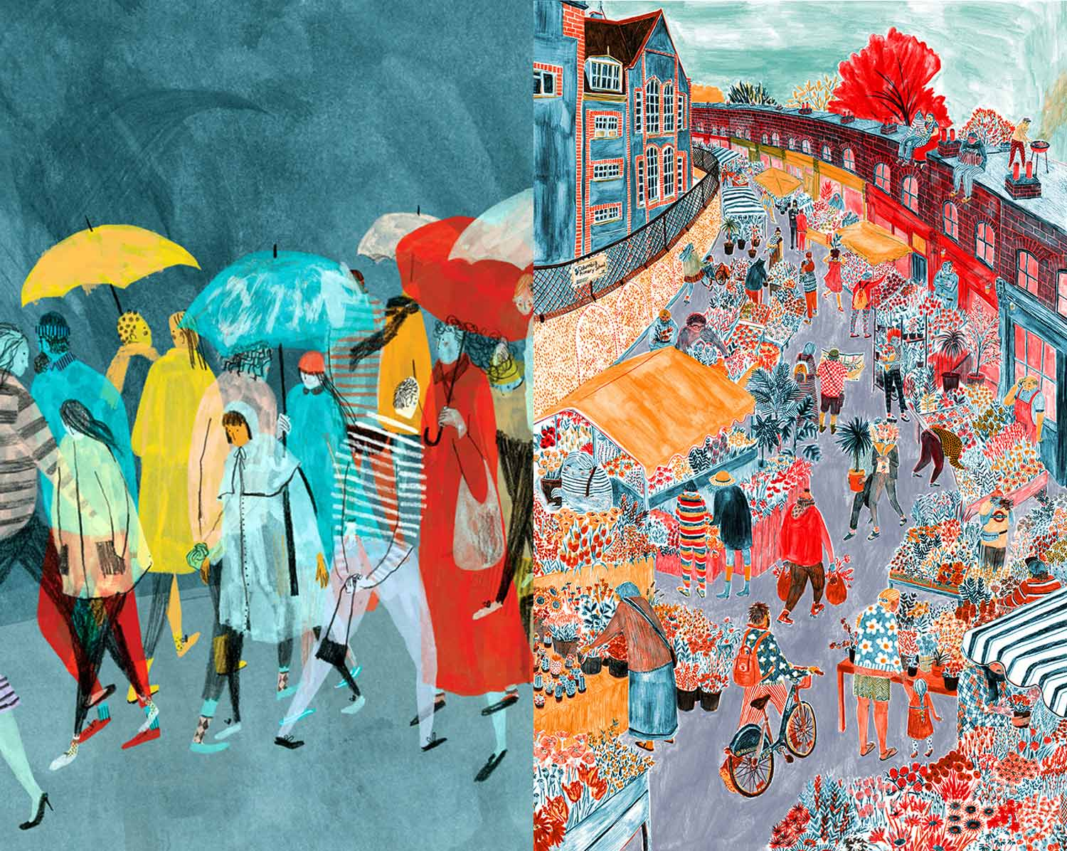 colorful city scenes, by Mouni Feddag