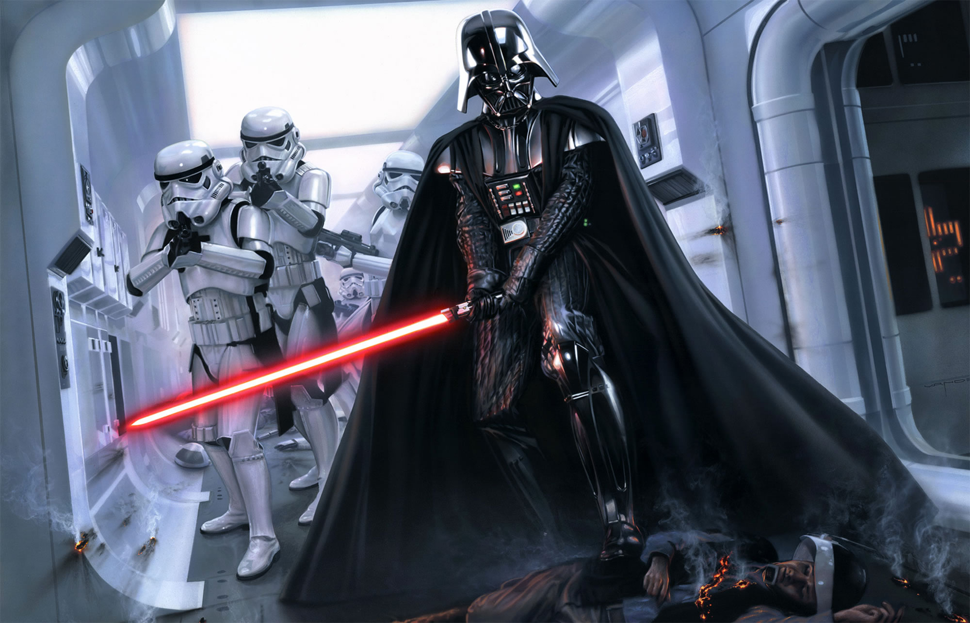 darth vader and stormtroopers entering spaceship