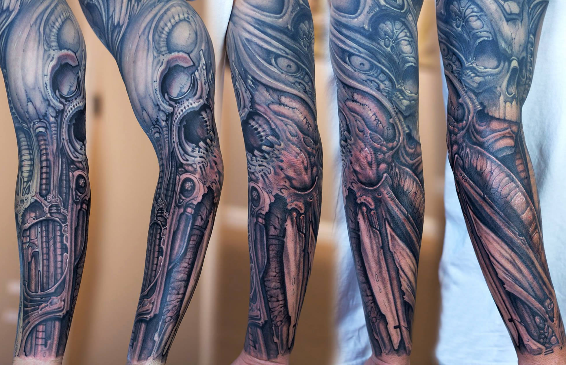 b5f276b81142e colorful surreal biomechanical tattoo on leg by paco dietz Biomech tattoo,  skull, giger style, by paco dietz
