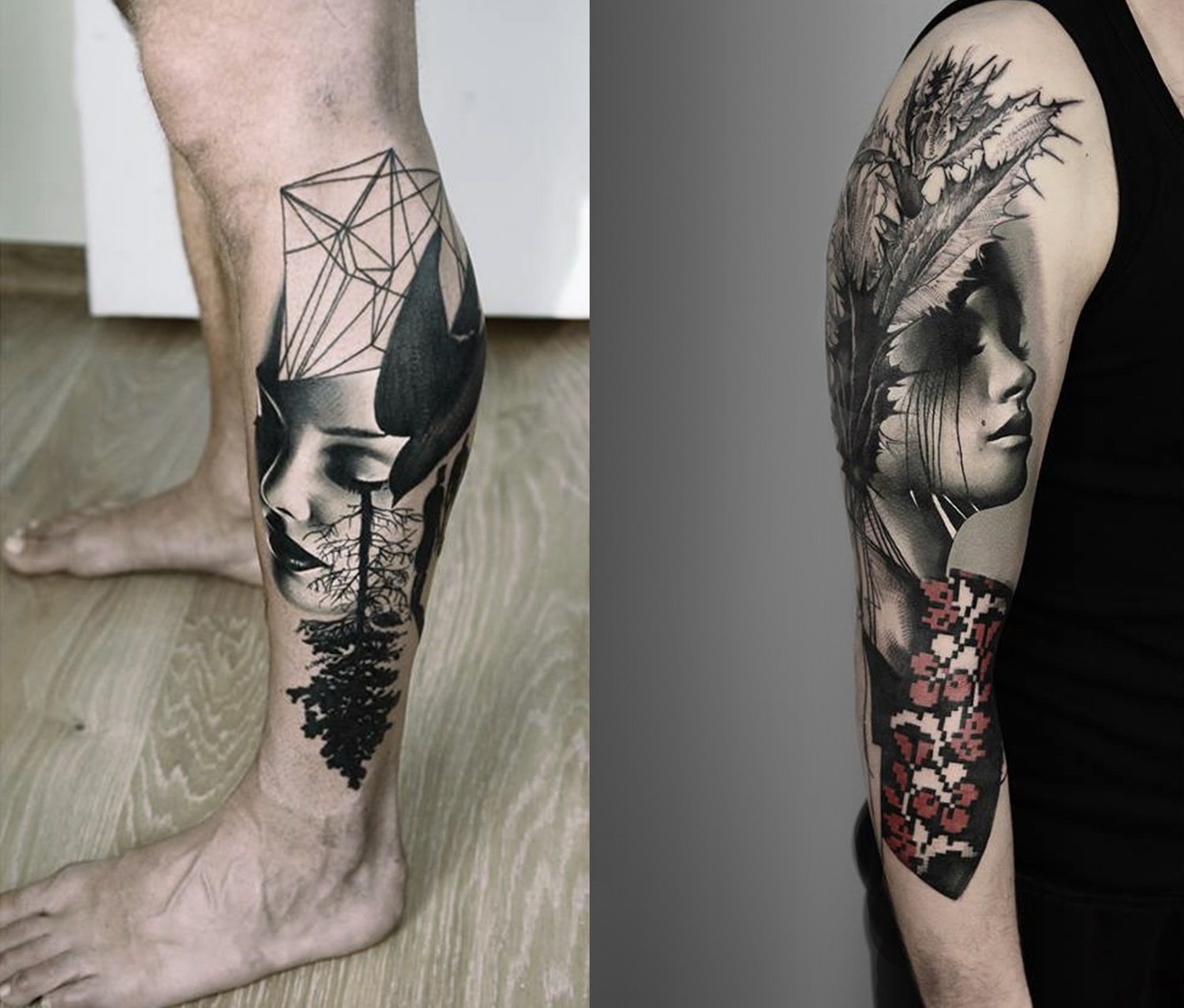 surreal portrait tattoos by timur lysenko