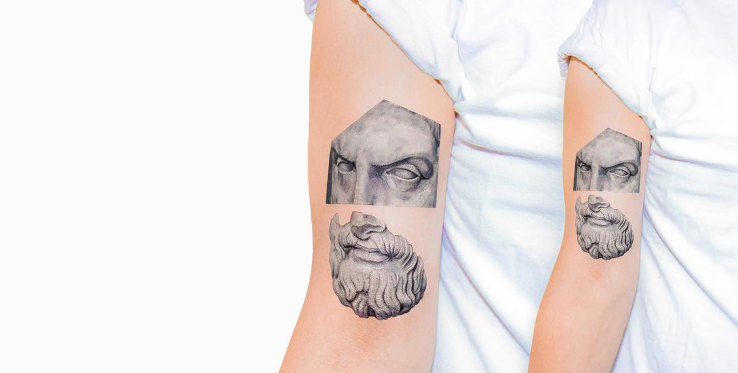 greek sculptural tattoo by Kaiyu Huang