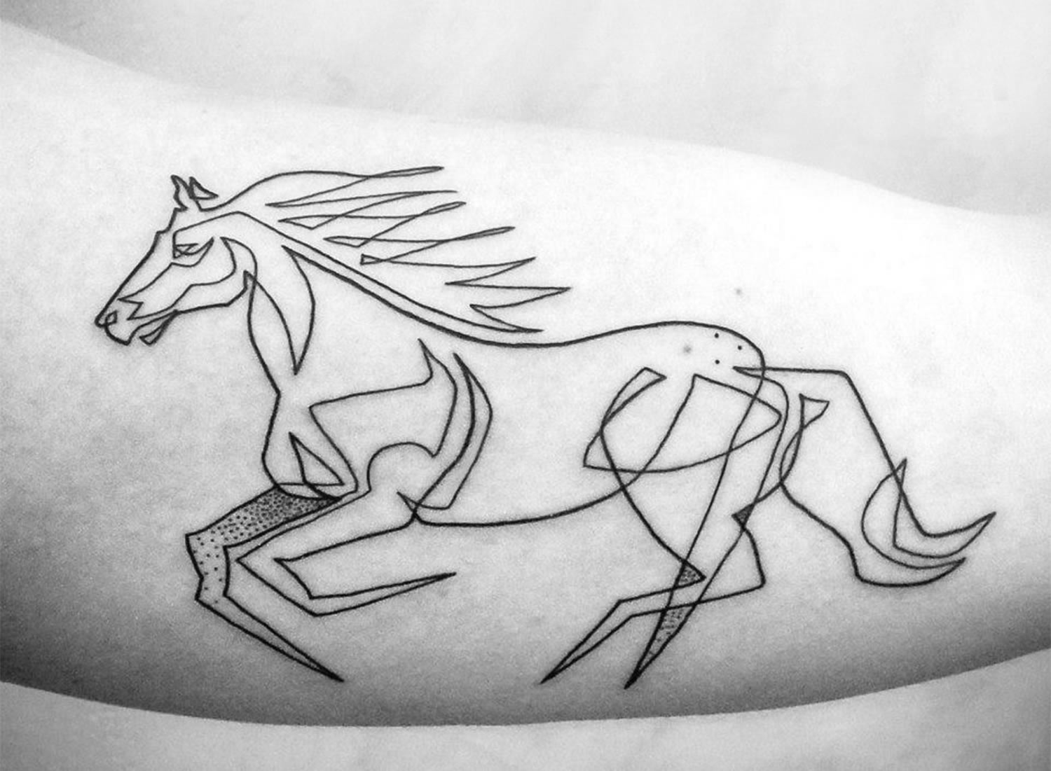 line art tattoo, a horse running in the wind by mo ganji