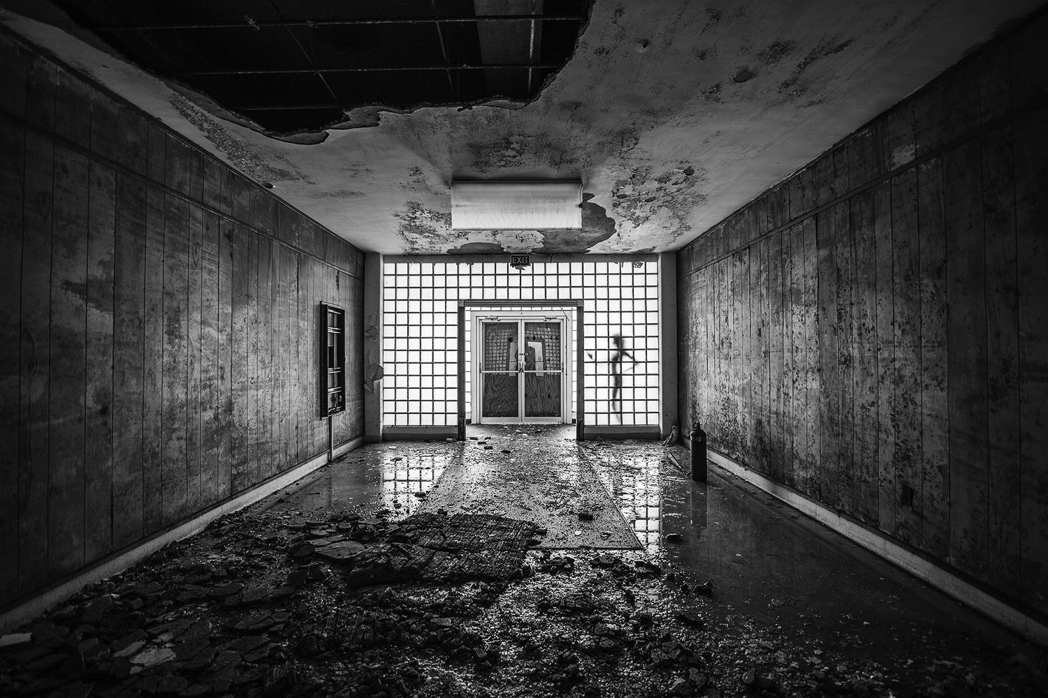 Brian Cattelle, BARE USA - Charleston Naval Hospital, SC - nude against window in derelict hallway